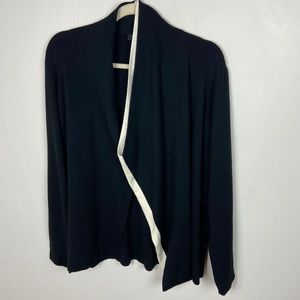 Lafayette 148 Colorblock Open Front Cardigan Black